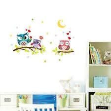 Half <b>Moon Owl Tree</b> Animal <b>Cartoon</b> Nursery Mural Decal Kids ...