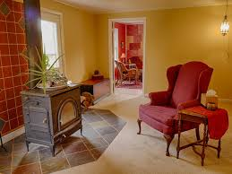 Terracotta Living Room Wood Stove Slate And Terracotta Tile And Yellow Walls In This