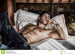 Shirtless Male Model Lying Alone On His Bed Stock Image   Image Of Blinds,  Single: 60128265