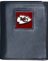 kansas city chiefs executive black leather trifold wallet