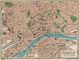 Frankfurt Vintage Town City Map Plan Germany 1933 Old