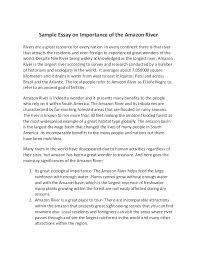 sample essay on importance of the amazon river sample essay on importance of the amazon river rivers are a great resource for every nation