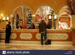 reception desk bellagio hotel and las vegas nevada usa stock image