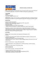 Sample Resume Fresh Graduate Business Administration Business