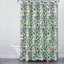 parrot shower curtain impressive ideas alfama parrot print with tassels shower curtain greenyellow opalhouse