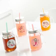 junior knows mermaids mason jar mugs with lids and straws pack of 4