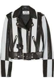 stripped leather jacket