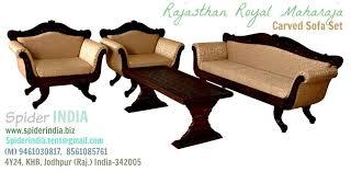 teak wooden carved maharaja barmeri carved sofa set by spider image 4