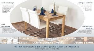 Wooden Nature Esstisch Set 305 Inkl 4 Stühle Weiß Eiche