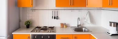 basic home kitchen renovation with orange cabinet basic appliances