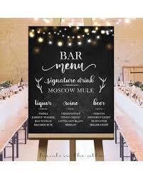 wedding drink menu. Spectacular Deal on Bar menu wedding drink sign large chalkboard