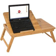 100 bamboo adjule laptop table computer desk tilting top w drawer bed tray com