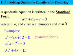 11 6 solving quadratic equations by factoring powerpoint ppt presentation