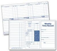 Weekly Time Record Weekly Employee Time Record Cards Order Business Products