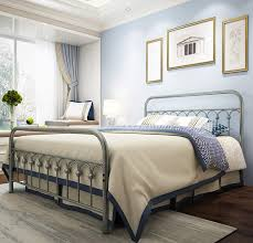Designer Wrought Iron Beds Metal Bed Frame Queen Size With Vintage Headboard And Footboard Platform Base Wrought Iron Bed Frame Gray Silver Queen Gray Silver