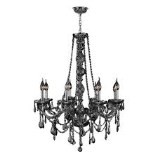 worldwide lighting provence 8 light chrome with smoke crystal chandelier