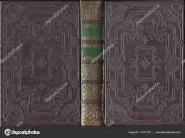 antique vine leather open book cover stock photo