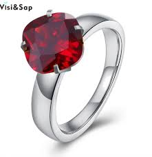 ᗗVisisap Round <b>Stone</b> Stainless Steel Rings For women RED ...