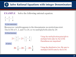 33 solve the following rational equation example because no variable appears in the denominator