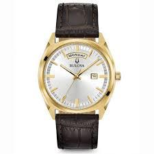 men s bulova classic surveyor gold tone brown leather watch 97c106 reeds jewelers