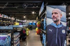 Inside The Manchester City Football Merchandising Shop At Manchester..  Stock Photo, Picture And Royalty Free Image. Image 145826760.