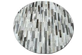 round cowhide rug taupe gray patchwork in stripes rugs houston