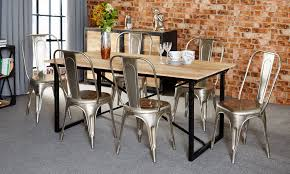 industrial kitchen table furniture. Dining Table Sets Baudouin Industrial Set 6 Seater With Grey Chairs Made From Reclaimed Metal Kitchen Furniture G