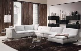 Modern Living Room Furnitures U Shaped Sofa Black Vinyl Grey Fabric Modern Sectional Sofa