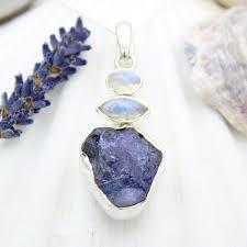 tanzanite and moonstone natural gemstone las sterling silver pendant