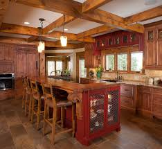 Red Floor Tiles For Kitchen Rustic Kitchen Design Ideas With Red Painted Kitchen Island 4