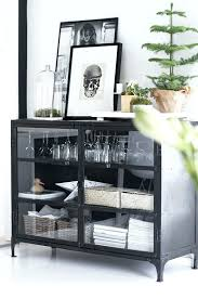black buffet cabinet with glass doors cupboard