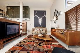 tan leather couch living room contemporary with area rug biomorphic brown