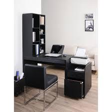 furniture of america zayo black finish office desk with bookshelf black office desk
