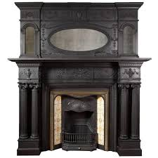 antique cast iron fireplace with overmantel 1