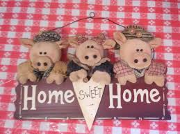 home sweet home vintage wall hanging decor 3 pigs b5 1 of 10