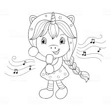 Zingen Eenhoorn Meisje Met Microfoon Kleurplaat Voor Meisjes Vector