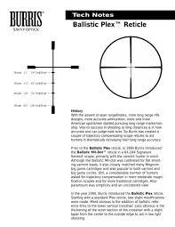 Bdc Reticle Ballistics Chart Ballistic Plex Reticle Burris