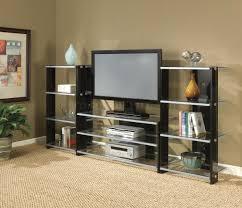 black  silver modern entertainment center wglass shelves