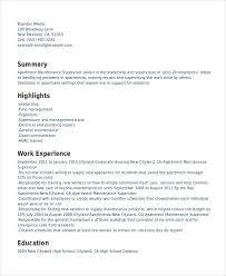 Supervisor Resume Template 11 Free Word Pdf Document