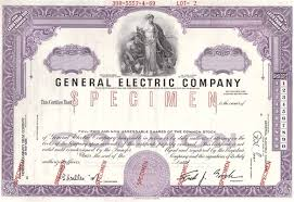Stock Certificats General Electric Company Specimen Stock Certificate