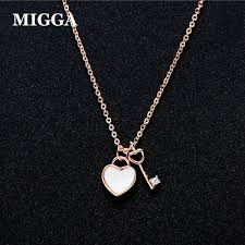 migga exquisite rose gold color small zircon key heart lock pendant necklace for women girls gift