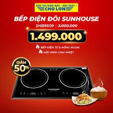 Siêu Thị Điện Máy - Nội Thất Chợ Lớn - ▪️ Bếp điện đôi #Sunhouse SHB8609  giảm 50% Giá còn: 1.499.000 (Was: ̶3̶̶.̶̶0̶̶0̶̶0̶̶.̶̶0̶̶0̶̶0̶) - Bếp điện  từ và bếp hồng ngoại -