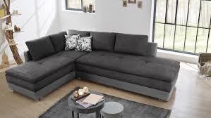 Wohnlandschaft Rechts Modena Ecksofa Sofa Bett In Weiß Grau
