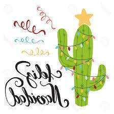 Merry Christmas Banner Print Photostock Vector Merry Christmas Banner Happy Cactus In A Christmas