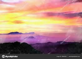 beautiful sunset view colorful painting stock photo