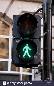 Walking Sign Light The Green Man Walking Sign On A British Pedestrian