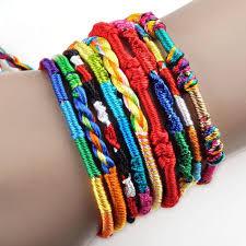 10Pcs <b>Handmade</b> Braided <b>Bohemian Rainbow</b> Rope <b>Bracelets</b> ...