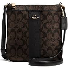 Coach Signature Coated Canvas With Leather North South Crossbody Bag Black    Brown   F52856