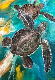 it takes two honu sea turtle surf art