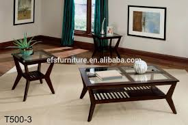 latest wooden frame square modern glass top center table design